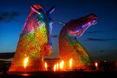 The Kelpies are named after the mythical water creature thought to haunt Scottish lochs and river, with the strength of ten horses. Description from funkyellastravel.com. I searched for this on bing.com/images