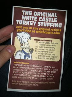 White Castle stuffing recipe... hopefully the picture finally works.