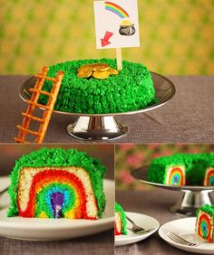 Leprechaun Cake ~ Perfect for a kid who still believes in fairy tales and magic, this cake is designed to lure a leprechaun in with golden coins ... and then trap him inside! It's actually a bundt cake, and pretzel bars—which the leprechaun will slip through—sit right under the coins. Instructions: http://www.notmartha.org/archives/2011/03/16/leprechaun-trap-cake/