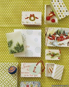 don't toss your holiday cards this year - save the ones with cute / pretty artwork to cutout and grace the tops of small boxes next year!