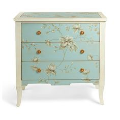 Our romantic, handpainted Millie Chest looks like it came from a fairy tale. And like a fairy tale, it has a sweet surprise: the three drawers are painted    a different, solid color than the rest of the chest, for a touch of cheerful fun whenever you pull them open. Look closely, and you'll also see that    the prettily painted floral motifs in the main overall design are edged with white for a visual lift. Brass ring drawer pulls complete the feminine,    vintage look. The apron has...
