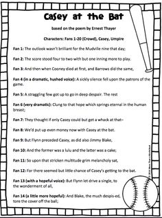 Practice fluency with this reader's theater script based on the poem Casey at… Drama Teacher, Teacher Notes, Teacher Stuff, Teaching Reading, Teaching Tools, Reading Comprehension, Presentation Rubric, Casey At The Bat, Poetry Unit