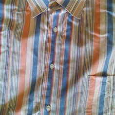 VIBES Wovens Mens 2XL Casual Shirt L/S Button Front Blue/Peach/white stripe EUC #VIBESWovens #ButtonFront