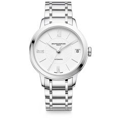 Baume & Mercier Classima 10267 Stainless Steel Bracelet Watch (158,005 INR) ❤ liked on Polyvore featuring jewelry, watches, apparel & accessories, silver, roman numeral jewelry, bracelet watch, polish jewelry, stainless steel jewelry and dial watches