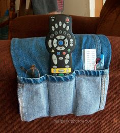 ARM CHAIR CADDY FROM THE JEANS' LEG - holds glasses, pens, the remote, Kleenex…