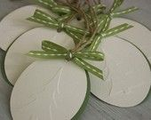 Set of Six Embossed Gift Tags - Snow-White Heart