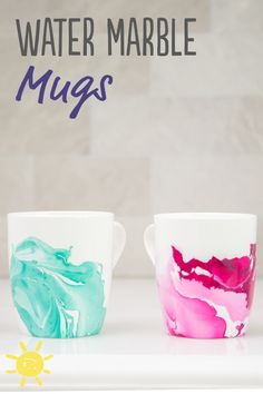 Cool use of old nail polish and unused coffee mugs!! Found on whatsupmoms.com #paintedmugs #marble #diy #crafts