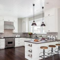 Contemporary Kitchen Peninsula with End Shelves