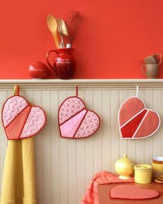Gift Idea For the Home Cook on Valentine's Day: Create Homemade Heart Shaped Pot Holders from Thrifted Fabric. DIY Instructions via @Martha Stewart Living