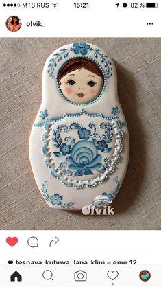 Matryoshka Doll in Blue & White by Olvik