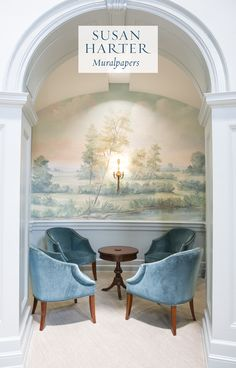 The mural wallpaper featured here is Aldworth Natural. The entryway rotunda at historic Samford University was reimagined by NJ Brock. The painterly landscape wraps around the entrance hall, serene sitting room vignettes under each archway. Hedsor House, Scenic Wallpaper, Mural Painting, Other Rooms, Decorating Your Home, Wall Murals, Entryway, Indoor, Interior Design