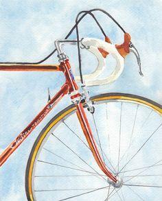 "Original watercolor painting by Rachel Petruccillo. ""Vintage Wilier Bicycle"""