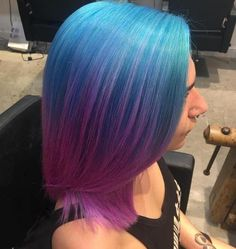 20 Blue and Purple Hair Ideas - 20 Blue and Purple Hair Ideas Pastel Blue To Lavender Ombre Bob Blue And Pink Hair, Pink Ombre Hair, Brown Ombre Hair, Ombre Bob, Pastel Blue, Green Hair, Pelo Multicolor, Opal Hair, Hair Meaning