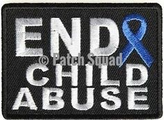 End Child Abuse Blue Ribbon Awareness Motorcycle MC Biker Against Patch PAT-3522