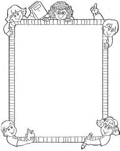 Page Borders Design, Border Design, Borders For Paper, Borders And Frames, Colouring Pages, Coloring Books, Kindergarten Portfolio, School Frame, School Clipart