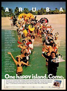1982 #Aruba #Caribbean #Island #Tourism #Travel #Carnival #Beach #Vintage #1980s Print #Ad #ArubaTouristBureau