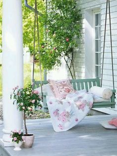 Front porch swing Outdoor Rooms, Outdoor Living, Outdoor Kitchens, Outdoor Ideas, Outdoor Decor, Gazebos, Decks And Porches, Front Porches, Side Porch