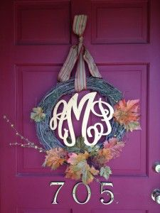 Wreath monogram from Initial Outfitters spray painted a light metallic gold for Fall & Christmas!  So ready for Fall!!
