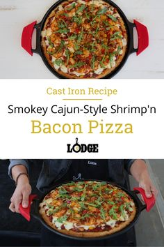 Lidia Haddadian, Lodge's 2019 Cornbread Cook-off champion, took cornbread to the next level with her winning recipe. Who would have thought of making a delicious cajun pizza with a cornbread crust? Her flavor-filled crust is topped with a spicy sauce, bacon, cajun shrimp, and, of course, cheese.