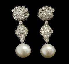 DESIGNER 14kt White Gold Diamond Sea Pearl Hanging Dangle Oval Earrings BOX BUY NOW @ www.ShopLindasStuff.com