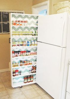 In a pantry, spare canned goods can be difficult to identify. This slim cabinet solves all those problems, while taking advantage of little-used space.
