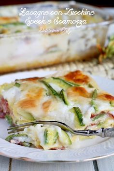 Lasagne alle Zucchine, Speck e Scamorza Chicken Wing Recipes, Pasta Recipes, Gourmet Recipes, Cooking Recipes, Italian Dishes, Italian Recipes, Ravioli, Confort Food, Crepes