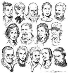 Faces by john grello art concept art sketches *** рисование Character Design Cartoon, Character Design References, Character Design Inspiration, Character Art, Face Sketch, Drawing Sketches, Art Drawings, Drawing Tips, Art Reference Poses