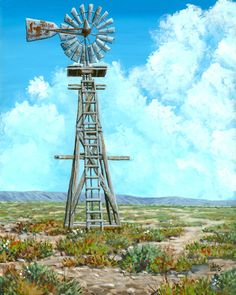 Windmill Drawing, Texas Quilt, Country Fences, Wind Mills, Water Powers, Watercolor Landscape Paintings, Le Moulin, Western Art, Painting Inspiration