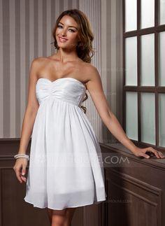 Empire Sweetheart Short/Mini Chiffon Taffeta Homecoming Dress With Ruffle (022011437)