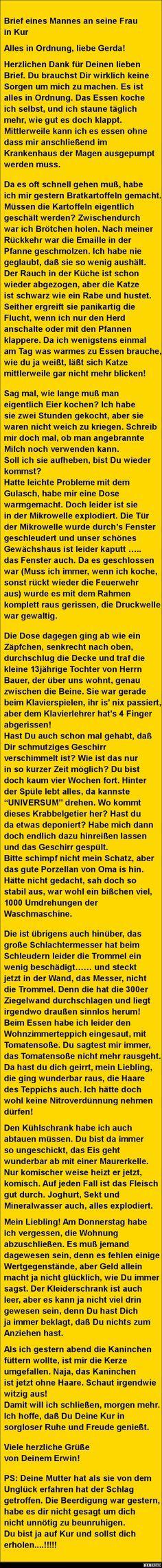 Brief eines Mannes an seine Frau in Kur..   DEBESTE.de, Lustige Bilder, Sprüche, Witze und Videos