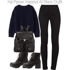 Kai Parker All Black Inspired Outfit by staystronng on Polyvore featuring Acne Studios, J Brand, Charlotte Russe, Proenza Schouler, Winter, tvd and KaiParker