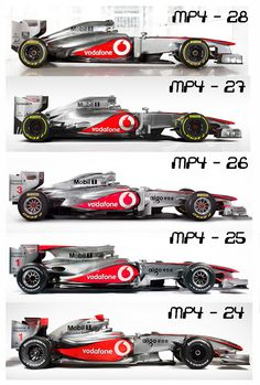 Year by year comparison of recent McClaren F1 entries - side view