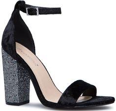 Black Velvet Two-Strap Blocked Heels