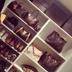 Jerusha Couture: Chic closet with shelves for designer handbags, Louis Vuitton, and designer shoes.