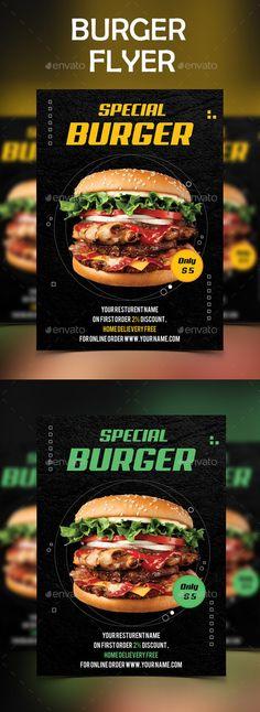 #BURGER #FLYER - #Restaurant Flyers Download here: https://graphicriver.net/item/burger-flyer/20332911?ref=alena994