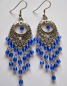 Blue chandelier earrings on antiqued silver plated by Etincellent, $20.00