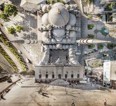 Aufnahme der Neuen Moschee: Das Bildmaterial für seine Collagen nimmt Büyüktas...
