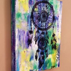 Dream catcher painting, acrylic on canvas, native american influence creati Dream Catcher Painting, Dream Catcher Art, Canvas Crafts, Canvas Art, Canvas Ideas, Feather Stencil, Native American Paintings, Art Drawings Beautiful, Indigenous Art