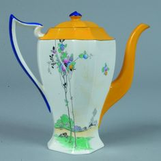 Bright yellow with white base, blue handle and floral decor. Very Art Nouveau style coffee pot