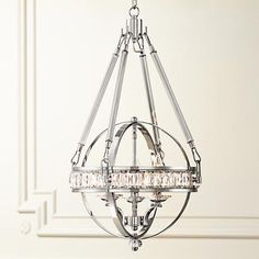"""Victoria Chrome 16"""" Wide Clear Crystal Chandelier"""