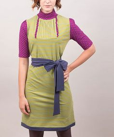Take a look at this Green & Purple Stripe Gina Three-Quarter Sleeve Dress by Riverside on #zulily today!
