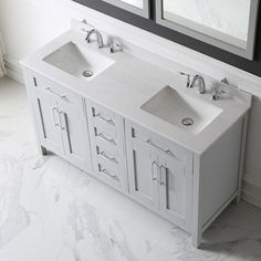 """The Tahoe is every master bath's dream vanity. Technology, functionality and convenience are what really make this piece impressive. From drawers featuring built-in organizers, to a fully integrated power station, we made sure to think of every little detail.The Tahoe is appropriately complimented by modern chrome pulls and soft-close hinges and drawer glides. In addition two large 20"""" under mount ceramic sink topped with lavish marble top for a truly astonishing overall effect and plenty of…"""