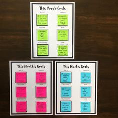 Sticky Note Goal Setting Printables – Let's Live and Learn Goal Setting Sheet, Setting Goals, Goal Settings, Goals Printable, Printables, Free Printable, Work Planner, Planner Ideas, Life Planner