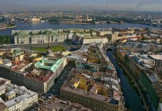 Aerial view of St.Petersburg's most famous sights