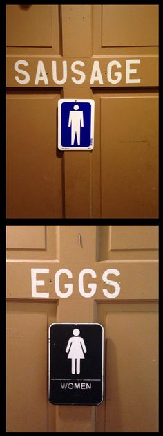 Male Female Resturant Restroom Door Wayfinding Signage – Sausage and Eggs
