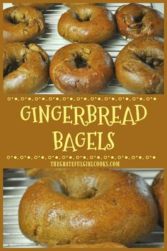 You will enjoy these New York style Gingerbread Bagels! Perfect treat for the holidays (or any time), they're boiled then baked, chewy AND delicious! / The Grateful Girl Cooks! Breakfast Bake, Breakfast Dishes, Breakfast Recipes, Bread Baking, Bread Food, Vegan Baking, Great Recipes, Favorite Recipes, Bagel Shop