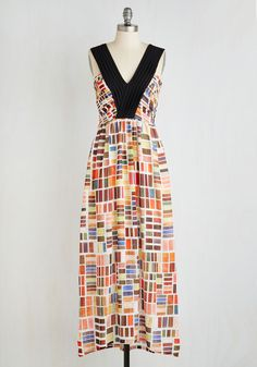 Top Swatch Dress. Set a shining example of edgy elegance with a nod to nostalgic style every time you sport this uniquely printed Dear Creatures maxi! #modcloth