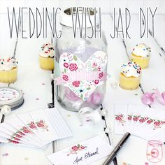 Wedding Wish Jar DIY with Free Printables-it's a Wedding Wish Jar DIY with all the Free Printables you need to make it!  It's such a fabulous little extra to have at your Wedding.  All of your family and friends can write the wishes they have for the happy couple.