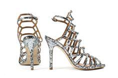 Steve Madden sandali alti glitter argento immagini