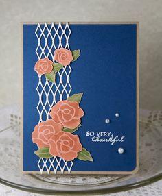 handmade card ... deep blue card ... white trellacing ... peach roses ... beautiful ...